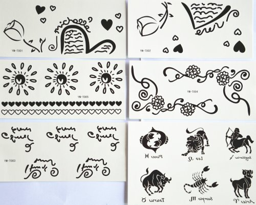 Ggsell Ggsell Fashion Design Hot Selling Temporary Tattoo Stickers Combination 6Pcs/Package Different Designs, It Includes Flowers/Sun/Heart/English Letter/Animals/Cow/Scorpion/Dog/Horse/Lion/Fish/Etc.