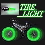 送料無料 自転車 安全 対策 にも タイヤ ライト 緑 2個1セット