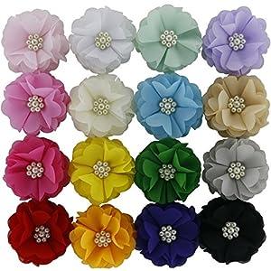 QingHan Little Girls' Chiffon Flower Hair Clips Headband Flowers Pack of 16