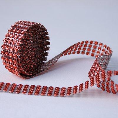 Ruban en strass - 2cmX2m - rouge - l'unité