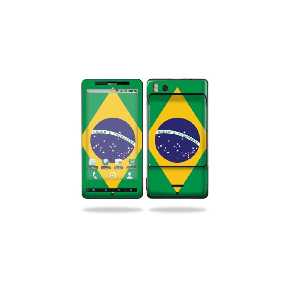 Protective Vinyl Skin Decal Cover for Motorola Droid X (MB 810) or X2 (MB 870) Cell Phone Sticker Skins  Brazilian flag