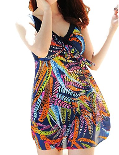 Wantdo Women's Shaping Body One-Piece Push Up Swimsuit Dress Swimwear Beach Suit Beachwear Plus Size(Feather,US 12-14