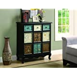 Monarch Apothecary Bombay Chest, Distressed Black/Multi-Color