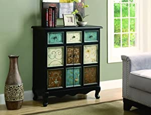 Bombay Chest Distressed Black Multi Color Kitchen Dining