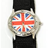 England Flag Union Jack British Luminous Hands Velcro Strap Boys Watch