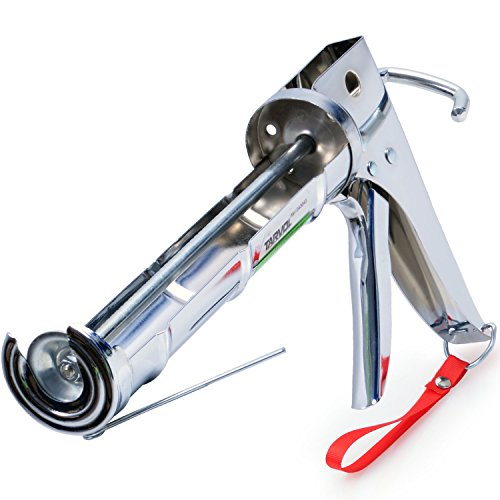 3 in 1 Caulking Gun (HEAVY DUTY CHROME PLATED) Fits Standard Size 10oz Caulk – Refillable 3 in 1 Design Includes Built in Cutter and Puncher Tool – Perfect for Industrial & Home Use!