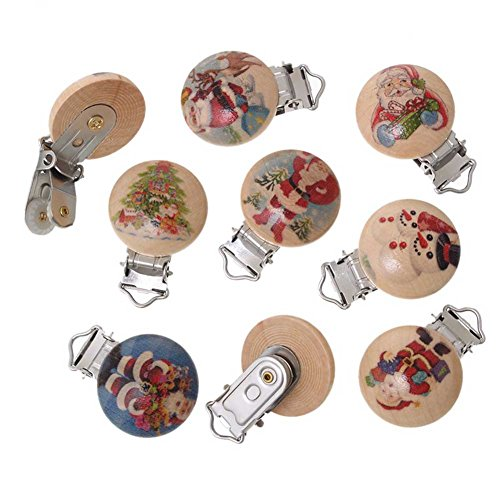 5Pcs Mixed Christmas Wood Round Pacifier Clip 4.4X3Cm front-1077885