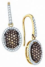 Brown Diamond Dangle Earrings 0.76Ctw 10k Gold