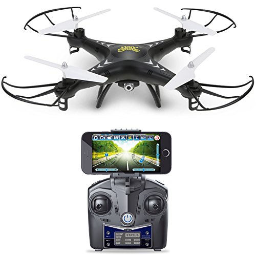 Holy Stone HS110 FPV Drone with 720P HD Live Video WiFi Camera 2.4GHz 4CH 6-Axis Gyro RC Quadcopter with Altitude Hold, Gravity Sensor and Headless Mode Function RTF, Color Black (Mobile Device Display Stand compare prices)