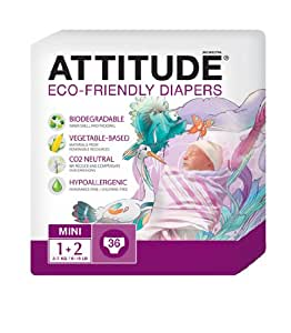 Attitude Eco Friendly Size 1-2 Nappies -  4 pack x 36 (144 Nappies)