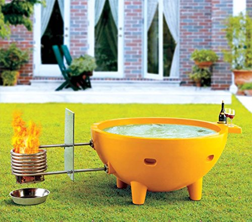 ALFI brand  FireHotTub-OR Round Fire Burning Portable Outdoor Fiberglass Soaking Hot Tub, Orange (Metal Soaking Tub compare prices)