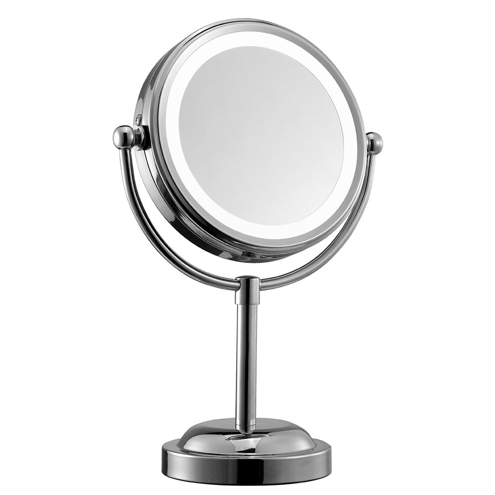 (Lifetime Warranty) InaRock Vanity 6-Inch Double-Sided Battery-Operated Lighted and 3X Magnifying Makeup Mirror, Polished Chrome Finish (Note:Batteries not included)