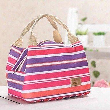 Zcl Stripe Canvas Picnic Lunch Bag Color Randomly