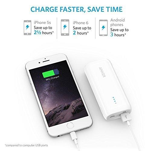 Anker® Astro E1 5200mAh 超コンパクト モバイルバッテリー 急速充電可能 iPhone / iPad / iPod / Xperia / Galaxy / Nexus 他対応 トラベルポーチ付属【PowerIQ搭載】(ホワイト) A1211022