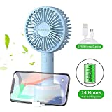 Mini Handheld Fan,Vatemax Rechargeable 2600mAh Personal Fan 3 Speeds Portable Fan Strong Airflow Desktop Fan with Base Plus 6ft USB Cable for Home,Office,Travel,Outdoor,Disney,Football Game Use (Blue) (Color: Blue)