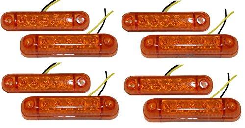 aerzetix lot de 8 feux de gabarit position lumi re orange 12v 5 led pour auto voiture. Black Bedroom Furniture Sets. Home Design Ideas