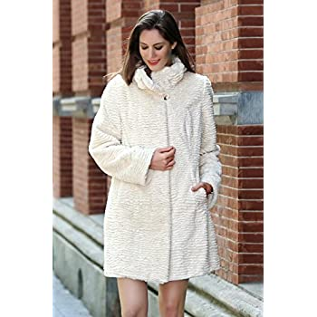 Adelaqueen Women's Winter Style Luxurious Persian Lamb Fabulous Faux Fur Coat