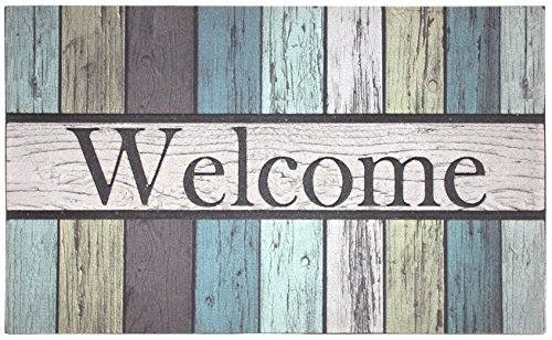 """J & M Home Fashions Painted Fence Welcome Printed Flocked Doormat, 18"""" by 30"""""""