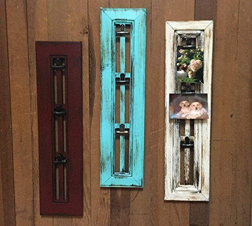 PHOTO HOLDER with CLIP Window Shutter / Picture Frame - Reclaimed Wood Distressed Rustic Blue Red Cream White	 0