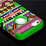 """myLife (TM) Vibrant Green - Colorful Tribal Print Series (Neo Hypergrip Flex Gel) 3 Piece Case for iPhone 5/5S (5G) 5th Generation iTouch Smartphone by Apple (External 2 Piece Fitted On Hard Rubberized Plates + Internal Soft Silicone Easy Grip Bumper Gel + Lifetime Warranty + Sealed Inside myLife Authorized Packaging) """"Attention: This case comes grip easy smooth silicone that slides in to your pocket easily yet won"""