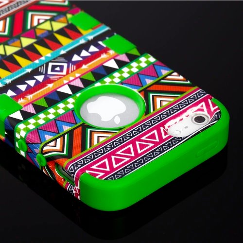 Mylife (Tm) Vibrant Green - Colorful Tribal Print Series (Neo Hypergrip Flex Gel) 3 Piece Case For Iphone 5/5S (5G) 5Th Generation Itouch Smartphone By Apple (External 2 Piece Fitted On Hard Rubberized Plates + Internal Soft Silicone Easy Grip Bumper Gel