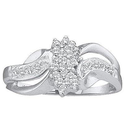 0.18 Carat (ctw) 10K White Gold Round White Diamond Cluster Swirl Ladies Bridal Engagement Ring