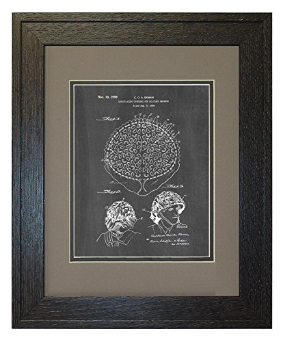 "Camouflaging Covering For Military Helmets Patent Art Chalkboard Print in a Rustic Oak Wood Frame with a Double Mat (11"" x 14"")"
