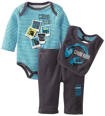Calvin Klein Baby-Boys Newborn Bodysuit With Pants And Bib, Blue, 0/3 Months