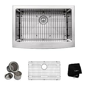 Kraus 30 inch Farmhouse Apron Single Bowl 16 gauge Stainless Steel Kitchen Sink