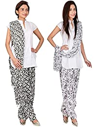 Womens Cottage Combo Pack Of 2 Printed Cotton Semi Patiala & Cotton Dupatta With Lace Set - B01G1GIW4M
