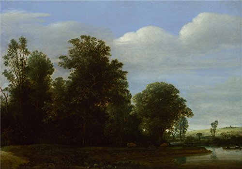 High Quality Polyster Canvas ,the High Quality Art Decorative Canvas Prints Of Oil Painting 'Cornelis Vroom A Landscape With A River By A Wood ', 16 X 23 Inch / 41 X 58 Cm Is Best For Foyer Decoration And Home Decor And Gifts