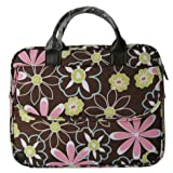 14.1 inch Brown Power of Love Flower Pattern Laptop Notebook Carry Case / Briefcase / Shoulder Messenger Bag