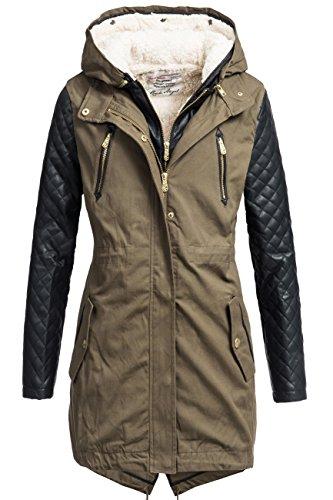 Rock Angel 2in1cappotto invernale da donna con giacca interna estraibile 44265brs verde M