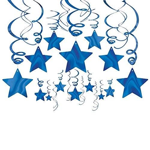 Amscan Bright Shooting Star Swirl Decorations Mega Value Pack, Blue