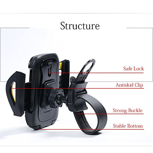 Sogo REMAX Bicycle Mobile Holder for Safe Cycling Adjustable Bracket Support 35 to 70 inch Durable ABS MaterialGray