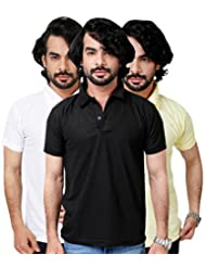 Elligator Stylish Yellow,Black & White Polo T-Shirt Combo