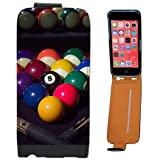 Pool Table Balls Ready To Play With Cues Leather Flip Case Cover for Apple iPhone 5C