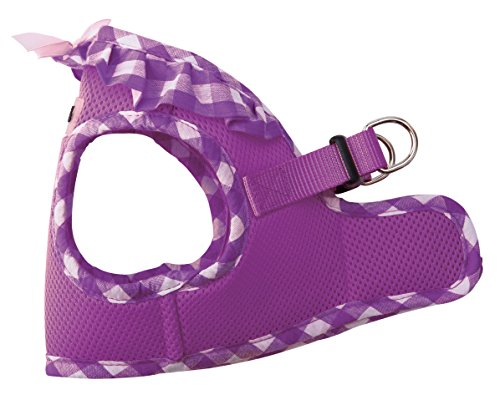 PUPTECK Checkered Frills Soft Mesh Dog Vest Harness Puppy Padded Pet Harnesses for Cat Small Dogs Purple Medium (Simply Dog Body Harness compare prices)