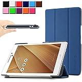 Infiland Asus ZenPad 7.0 Z370C 7インチ タブレット ケース 三つ折 スタンドカバー 薄型 軽量型 スマートケース (Asus ZenPad 7.0 Z370C, ネイビーブルー)
