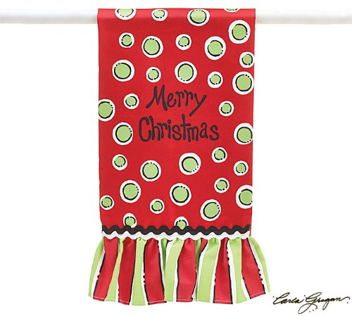 Merry Christmas Tea Towel Red Green Dots Kitchen Holiday Gift