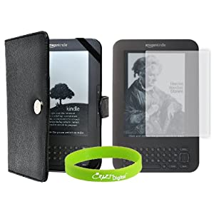 CrazyOnDigital Kindle 3G 3rd Generation Leather Case with Screen Protector