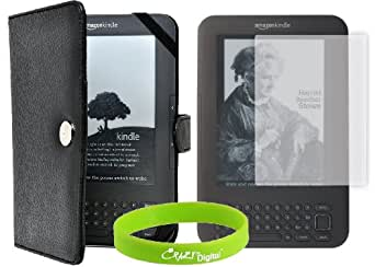 CrazyOnDigital Kindle 3 Kindle Keyboard 3rd Generation Leather Case with Screen Protector Compatible with Kindle Keyboard CrazyOnDigital Retail Package