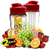 Infuser Water Bottle 2 Pack - No BPA, Made in USA - Add Fruit, Veggies or Herbs for Healthy Flavor Enriched Water - Finger Grips For Easy Handling, Perfect Size For Car Cup Holders, Flip-Top Cap, and Wide Opening For Quick and Easy Cleaning - Eastman TritanTM - 22 Oz