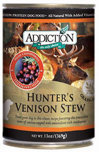 Addiction Hunter's Venison Stew w/ Cranberries, Grain-Free Canned Dog Food (Pack of 12, 13 Ounce Cans)