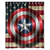 img - for Custom American Flag Captain America Shield Waterproof Polyester Fabric Bathroom Shower Curtains 60x72 Inch book / textbook / text book
