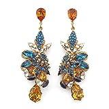 Opulent Capri and Sunflower Crystal Stud Earrings by Bijoux Heart