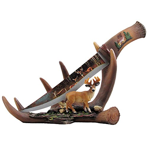 Buck-Display-Knife-on-Antler-Stand-with-Deer-Figurine-and-Stainless-Steel-Blade-for-Rustic-Cabin-Lodge-Decor-Sculptures-for-Statues-and-Decorative-Hunting-Knives-or-Daggers-As-Gifts-for-Hunters-and-Ou