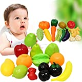 SunAngel 28 Realistic Artificial Vegetables And Fruits Play Food Set - 14 Vegetables And 14 Fruits