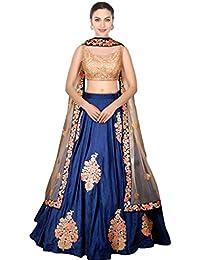 Designer Bollywood Style Blue Art Silk Embroidery Work Semi-Stitched Bridal Lahenga Choli