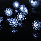 Sunniemart 20 LED Lotus Globe String Lights Solar Powered Fairy Lights Outdoor String Lights for Christmas, Wedding, Party (White)
